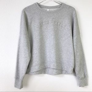 Fabletics Stacey Never Settle Grey Heather Semi-Cropped Pullover Sweatshirt M